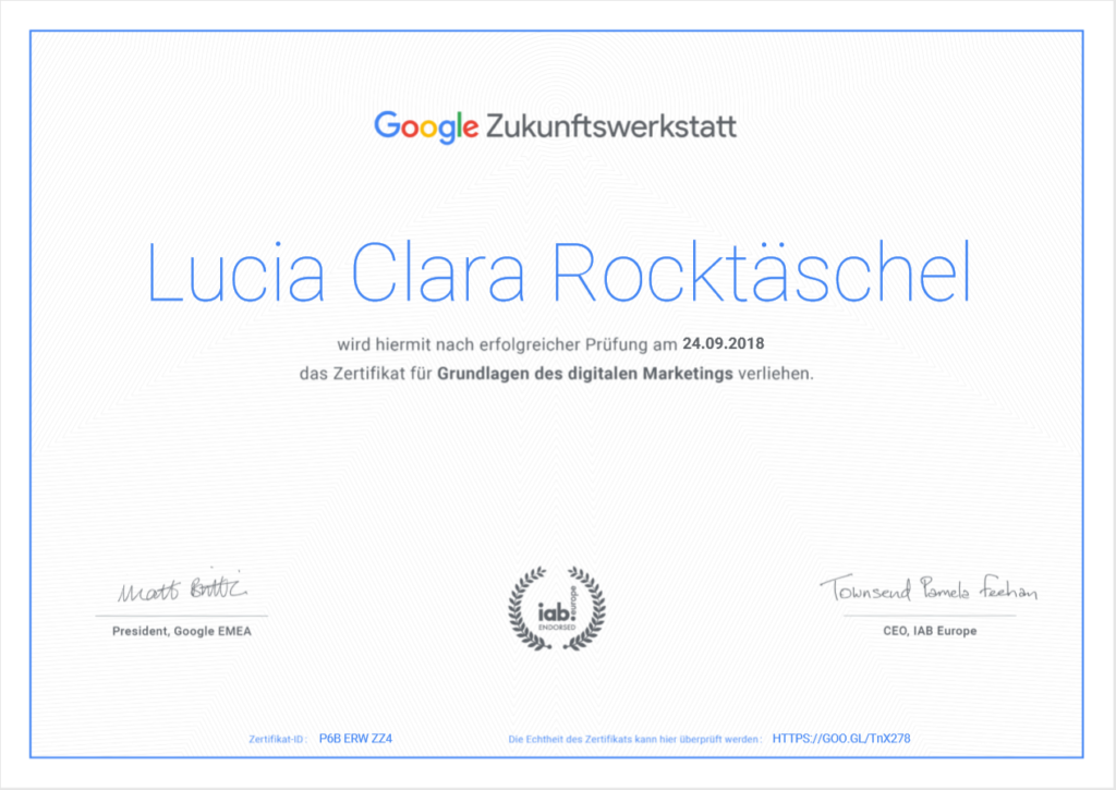 Zertifikat der Google Zukunftswerkstatt