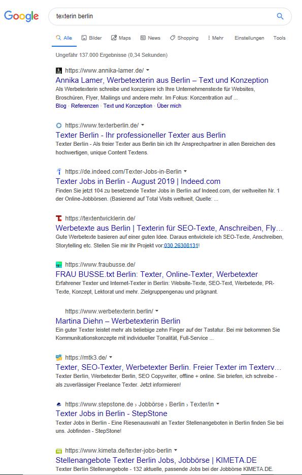 Screenshot Googlesuche Texterin Berlin. Gendern und SEO