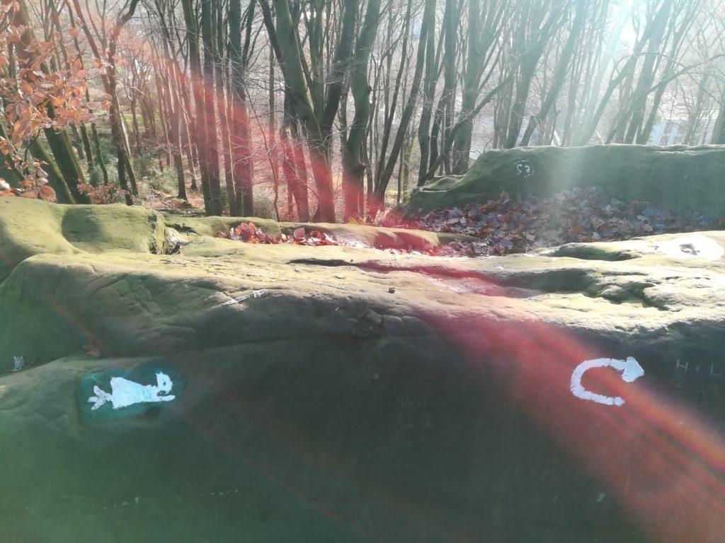Auf einem Felsen ist eine kleine Hexe abgebildet, die auf einem Besen fliegt. Es handelt sich um das Naturdenkmal Hexenküche im Tecklenburger Wald.