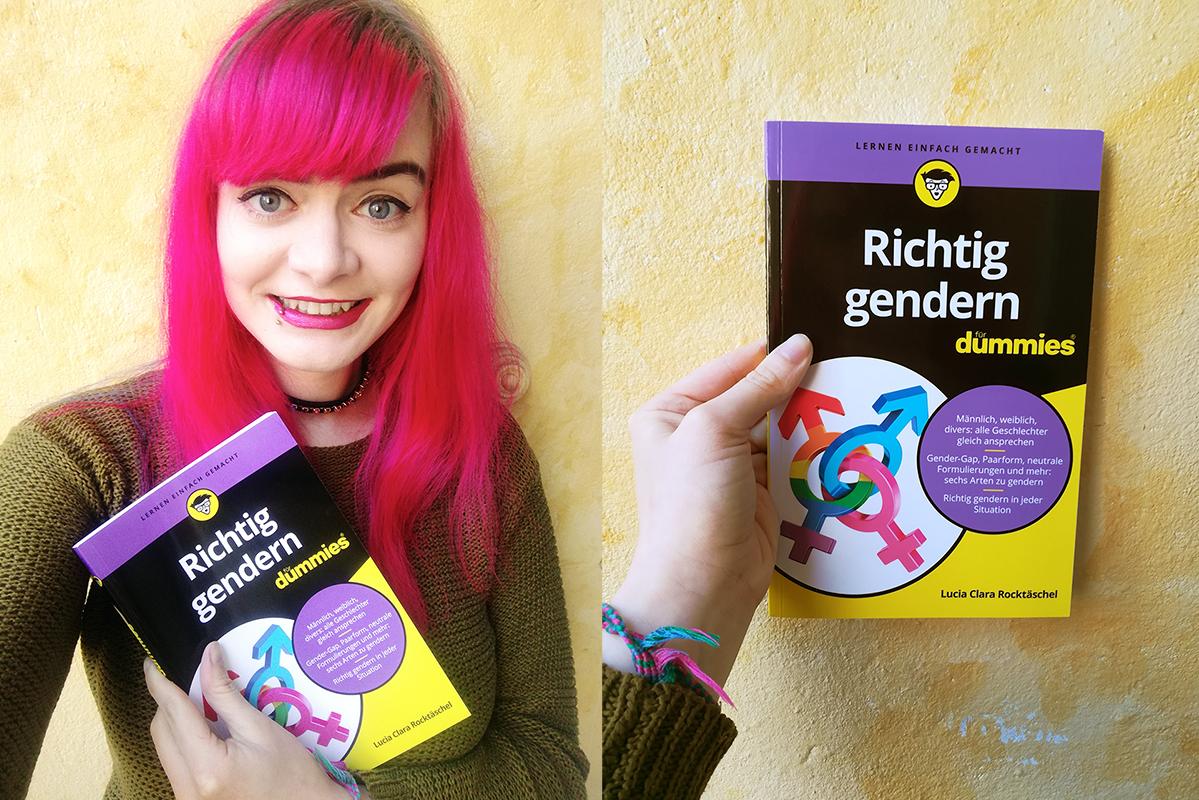 """Zwei Bilder: Links hält Lucia ihr Buch """"Richtig gendern für Dummies"""" in der Hand und grinst aufgeregt in die Kamera. Rechts ist das Buch noch einmal von Nahem zu sehen."""